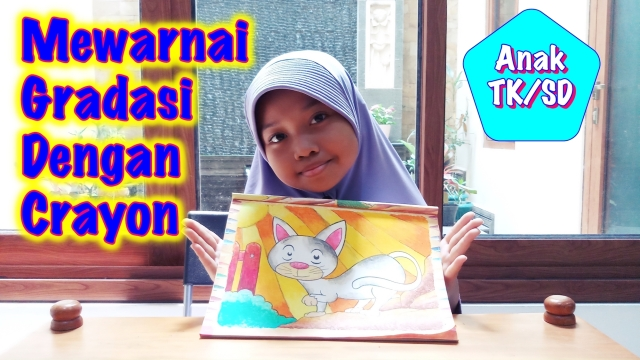 Cara Mewarnai Dengan Crayon Gradasi Anak Tk Dan Sd Gambar Kucing